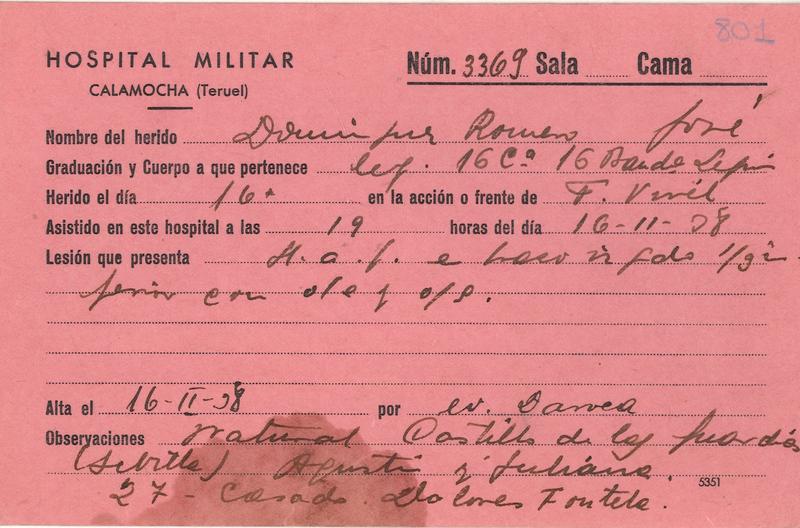 Fichas del Hospital Militar de Calamocha