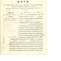 Acta de  la sesión celebrada para la designación de representante para elección de diputados a cortes (1936)