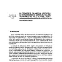La estación de Calamocha : propuesta de caracterización agroclimática del tramo final del valle Alto del Jiloca