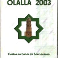 Programa de fiestas de Olalla del año 2003.