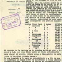 Cuenta de precio de los artículos  que se van  a entregar  al ejercito  (1937)