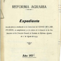 Reforma agraria. Censos campesinos (1934)