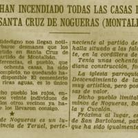 Los rojos han incendiado todas las casas del pueblo de Santa Cruz de Nogueras (Montalbán)