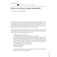 Dichos a San Roque de Ángel Catalán Bello