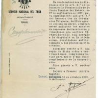Correspondencia  del ayuntamiento de Lechago.1937