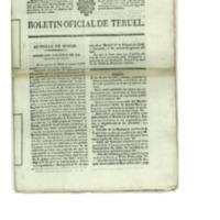 Boletín oficial de la provincia de Teruel. nº 17 al 25 de marzo.(1838)