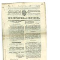 Boletín oficial de la provincia de Teruel.nº 78 al 86 de octubre .(1838).