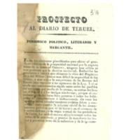 Prospecto al Diario de Teruel. Periódico político, literario y mercantil.
