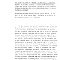 Los cónyuges Domingo Navarro y Juana Marzo, labradores vecinos de Alpeñés (Teruel), venden  a la cofradía de  Nuestra Señora de la Langosta, un terreno de cuatro yugadas situado en la vega de  Santa María  de Alpeñés por 1300 florines jaqueses.