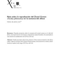 Nota sobre la reproducción del Zorzal Común (Turdus philomelos) en la comarca del Jiloca