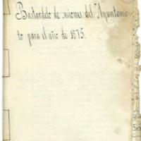 Libro de acuerdos  del Ayuntamiento de Cutanda del año 1875.
