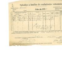 Subsidios a familias de excombatientes (1937)